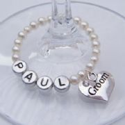 Groom Personalised Wine Glass Charm - Full Bead Style